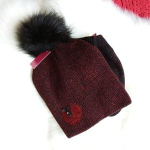 Betsey Johnson | Black with Red Hat and Glove Set